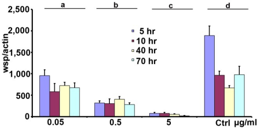 Generation of Aa23 cells with different Wolbachia density.Cells were treated using sub-lethal doses of rifampicin for a different time periods. Three dosages (0.05 µg/ml, 0.5 µg/ml and 5 µg/ml) and four time periods (4 h, 10 h, 40 h and 70 h) were used. The genome copies of wsp were measure by q-PCR, normalized by host gene actin. Error bars are standard errors of the mean of at least three biological replicates. Statistical significance is represented by letters above each column, with different letters signifying distinct statistical groups. Student's t test: a vs. b, P<0.001; b vs. c, P<0.001; d vs. a, P<0.05.