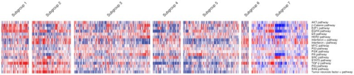 A heatmap of oncogenic pathway signature predictions, with CLL samples grouped by genomically-defined subgroups on the x-axis, and signatures on the y-axis.Red denotes high signature prediction, and blue denotes low signature prediction, with prediction scores scaled by row. This demonstrates that subgroups have distinct patterns of oncogenic pathway activity, which confirm results obtained from GSEA analysis.