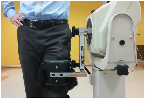 The hip muscle strength measurement by using Biodex System 3 Dynamometer. The flexion and extension muscle forces were measured at standing position.