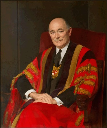 Baron Porritt of Wanganui and Hampstead, GCMG, GCVO, CBE (1900-1994)13. Portrait, oil on canvas, 128 x 93 cm,1964-65, by Sir James Gunn, RA. Reproduced with permission of the Hunterian Museum, Royal College of Surgeons of England, solely for this Medical History. Arthur Espie Porritt was born in Wanganui; his father was a surgeon as was his maternal grandfather. His commendable academic and athletic performances led to a Rhodes to Magdalen, Oxford. At the 1924 Paris Olympics he took a bronze in the 100 meters. Although a knee problem prevented further competition, he served as captain of New Zealand's Olympic Team in Amsterdam in 1928, the year he qualified BM from Oxford. Through house jobs at Mary's and after being Assistant Director of the Professorial Unit, he became surgeon to Mary's and then Surgeon-in-Ordinary to the Duke of York, later HM King George VI. Placed by Hood in the BEF2, he became known to Ulstermen Brooke, Alexander and Montgomery. In North Africa with Montgomery he was chosen as Surgeon in Chief Designate to SHAEF to help Montgomery and Eisenhower14.Always cheerful, optimistic and supremely practical he liaised well after D-Day with Americans, Canadians, French, Poles and the Allied Air Forces. His Presidency of the Royal College of Surgeons of England from 1960-1963 was rewarded with a Baronetcy. In 1967 he was appointed Governor-General of New Zealand. He and Lady Porritt, a former Sister in QAIMNS, were extremely popular and successful for their five-year term in the land of Porritt's birth. His death at their home in St. John's Wood, London was on New Year's Day; he had been fully active until Christmas14.