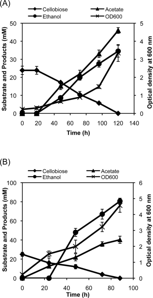 Time profiles of cellobiose fermentation by the engineered strain.The engineered E. coli strain SSY12 bearing the plasmid pPgap-OsmY-Gluc1C was grown in minimal medium (A) or complex medium (B) containing cellobiose under a microaerobic condition, and the metabolites and cell growth were monitored throughout the cultivation period.