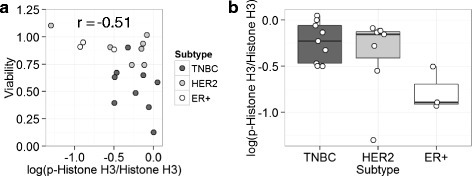 Association between phosphorylation status of Histone H3 Ser10 and viability of midostaurin treated cells in breast cancer cell lines. The phosphorylation of Histone H3 Ser10 and Histone H3 in breast cancer cell lines was semi-quantified by densitometry after Western blot analysis. The phosphorylation level is determined as a ratio of the value of the phosphorylation at Ser10 against that of the total protein of Histone H3 and indicated as p-Histone H3/Histone H3. The values are shown in as relative to MDA-MB-468 cell. a The association of the phosphorylation level of Histone H3 Ser10 with cell viability after the midostaurin treatment. Pearson's correlation coefficient: −0.51, p = 0.021 by Pearson correlation test. b Box plot showing the phosphorylation level of Histone H3 Ser 10 among the breast cancer subtypes