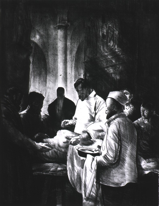 <p>A man is lying on a table on his side.  A scalpel is in the surgeon's hand; an attendant is holding a dish.  There are four other people looking on.</p>