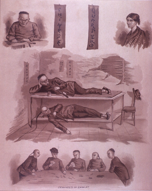 <p>Interior view: two people are on bunk beds smoking pipes, a group of people around a table play a game, and a sorrowful looking woman with a shawl around her shoulders and scratches on her face.  On the verso are advertisements for George Finkenaur, a dealer in artist's, decorator's and painter's materials, Wallace T. Jones &amp; Co, a manufacturer of confections, English Sewing Machine Co., and G.S. Woolman.</p>
