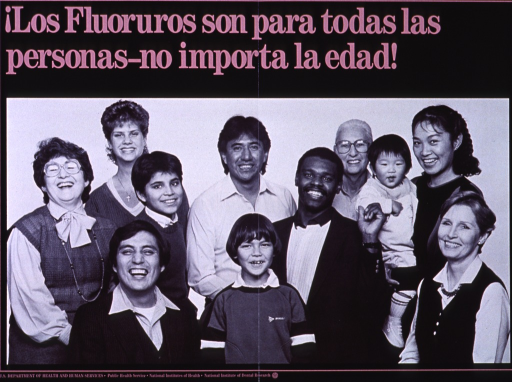 <p>Black poster with mauve lettering.  Title at top of poster.  Visual image is a reproduction of a b&amp;w photo of a diverse group of people.  Group members represent all races and range in age from newborn to elderly.  Publisher information at bottom of poster.</p>