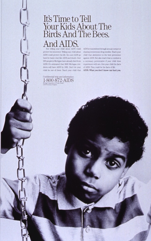 <p>White poster with black lettering.  Title at top of poster.  Caption below title gives parents basic information about AIDS transmission to share with children.  Note below caption.  Visual image is a reproduction of a b&amp;w photo of a young boy sitting on a swing.</p>