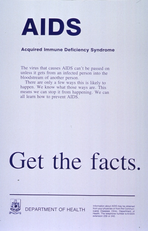 <p>White poster with blue lettering.  Title at top of poster.  Text below title explains AIDS transmission and urges prevention.  Note near bottom of poster.  Publisher logo in lower left corner is sole visual image.  Publisher information at bottom of poster.</p>