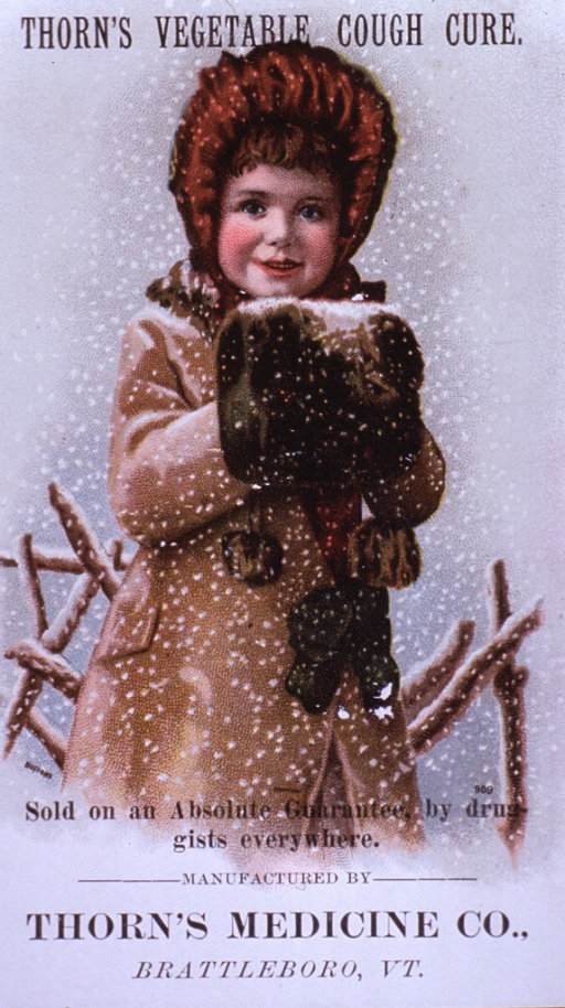 <p>Visual motif:  Shows a young girl, dressed for winter, outside during a snowstorm.</p>