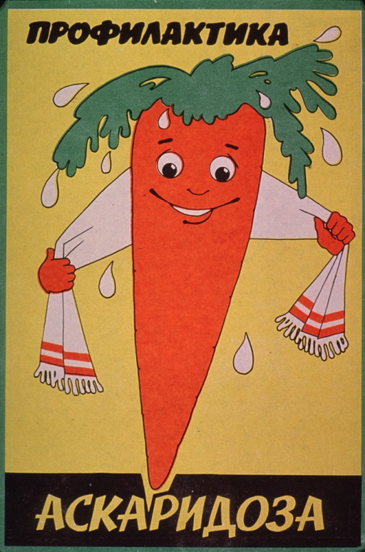 <p>Predominantly yellow poster with black and yellow lettering.  All lettering in Cyrillic script.  Initial title word at top of poster.  Visual image is an illustration of a carrot drying itself with a towel, as if after a bath or being washed.  Remaining title word at bottom of poster.  Publisher information on verso.</p>