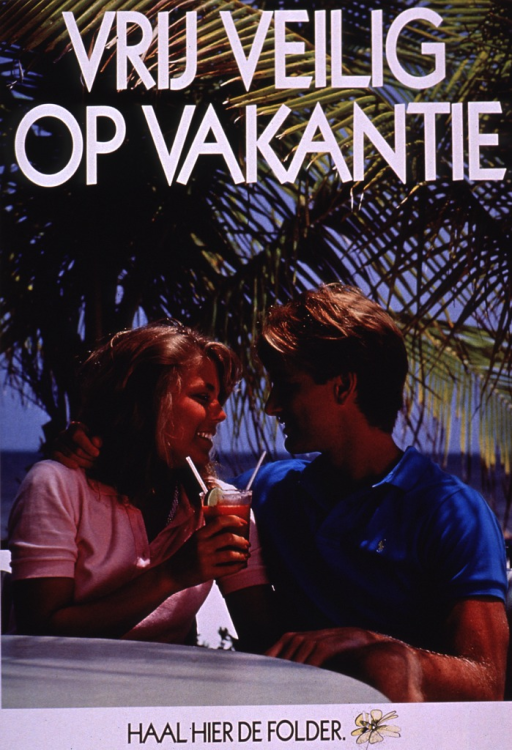 <p>Multicolor photo with white and black lettering.  Title at top of poster.  Title may refer to safe sex while on vacation.  Visual image is a color photo reproduction featuring a male-female couple.  They sit outdoors, nearly in an embrace, and share a fruity beverage.  Palm trees are visible in the background.  Note at bottom of poster.</p>