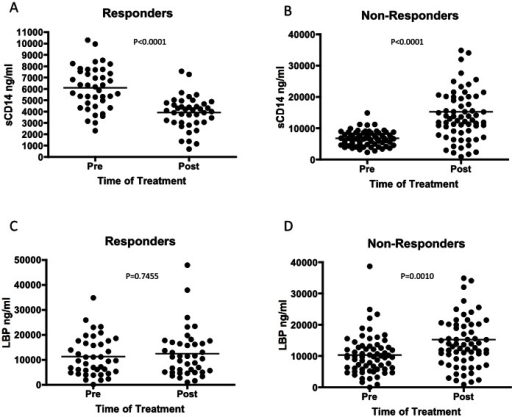 Markers of bacterial exposure change in response to IFN therapy in patients with liver fibrosis.Patient sera were tested for sCD14 and LBP levels pre- and post- IFN therapy. In patients who respond to treatment, there is a statistically significant decrease in sCD14 following treatment (P<0.0001) while patients who do not respond show a significant increase following the course of treatment (P<0.0001) (B). There was no significant change LBP between treatment groups in patients who respond to IFN therapy (C), however patients who do not respond to treatment show a statistically significant increase from pre-treatment LBP levels (P<0.001) (D).
