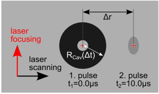 Schematic depiction of the adjustment of subsequent generated cavitation bubbles.The first bubble is induced on the left side at a time defined as t1 = 0.0 µs. The second cavity is generated at t2 after a constant delay of 10.0 µs. The bubble size is characterized as its radius RCav while the distance between the focal spots amounts to Δr.