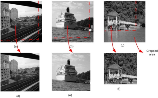 Robustness of Proposed Technique against Cropping attack.(a-c) Original images of size 512×512 pixels. (d) strips 25 and 26 pixels wide were cropped from the bottom and right hand side of the image respectively. The size of the image after cropping attack is 487×486 pixels. (e) strips 54 pixels wide were cropped from the bottom and right hand side of the image. The size of the image after cropping attack is 458×458 pixels. (f) strips 149 pixels wide were cropped from the bottom and right hand side of the image. The size of the image after cropping attack is 363×363 pixels.