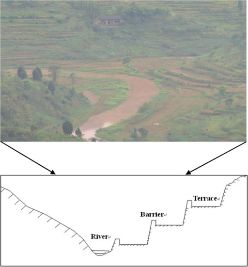 The distribution of terraced fields and its profile.