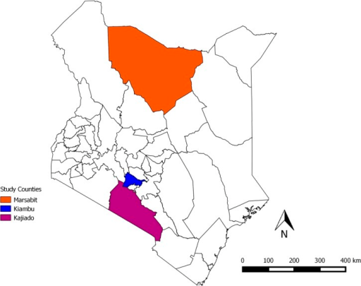 Map of Kenya showing the three counties where the study was carried out. Each study county represents a predominantly unique production system; Kiambu (small-holder system), Kajiado (agropastoral system) and Marsabit (pastoral system).20