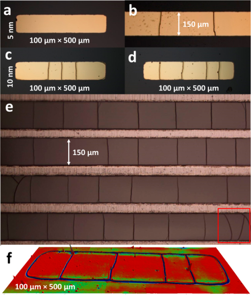 Effect of mask aspect ratio on the mud-crack patterning.(a) chromium/gold (5 nm/100nm) – 100 × 500 μm2 rectangle. (b) chromium/gold (5 nm/100nm) – 150 μm × 1000 μm lines. (c,d) chromium/gold (10 nm/100nm) – 100 × 500 μm2 rectangle. (e) chromium lines (150 μm × 1000 μm) following the removal of the 100 nm gold layer and (f) 3D image of cracking of the PDMS surface following removal of the chromium/gold (10 nm/100 nm) layer – 100 μm × 500 μm lines.