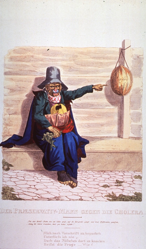 <p>Caricature:  A monkey wearing clothes, cape, and hat, is seated on a bench and pointing to a walnut shell, labelled cholera, hanging from a post against a wall.  Apparently, it is offering protection against cholera.</p>