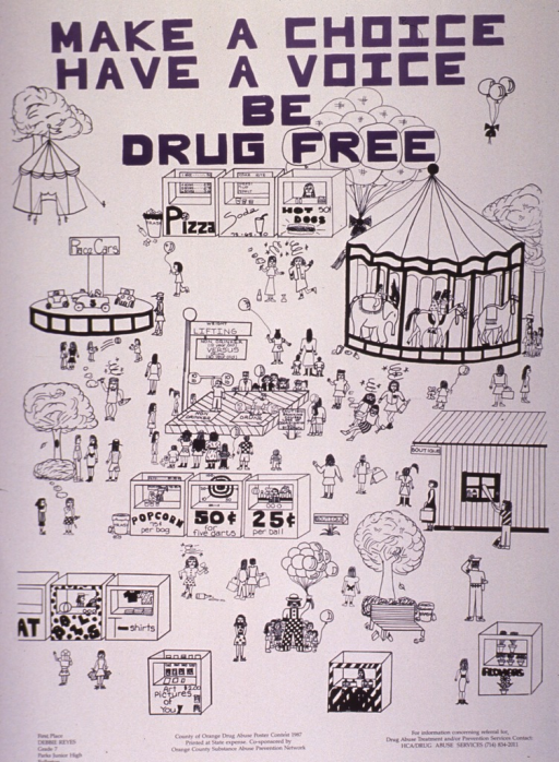 <p>White poster with black and blue lettering.  Title at top of poster.  Dominant visual image is a reproduction of a line drawing of a fair.  Many healthy people walk among several booths and rides.  Occasionally, a person or group is smoking or falling down drunk.  A central attraction at the fair is a weightlifting contest at which a non-drinker easily beats someone who is drunk.  Bottom of poster provides a phone number for more information about drug abuse services, lists the sponsor, and identifies Debbie Reyes--a seventh-grade student at Parks Junior High in Fullerton--as the first place winner of the poster contest.</p>