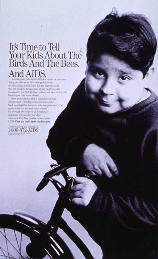 <p>White poster with black lettering.  Title on left side of poster.  Caption below title gives parents basic information about AIDS transmission to share with children.  Note below caption.  Visual image is a reproduction of a b&amp;w photo of a young boy on a bicycle.</p>