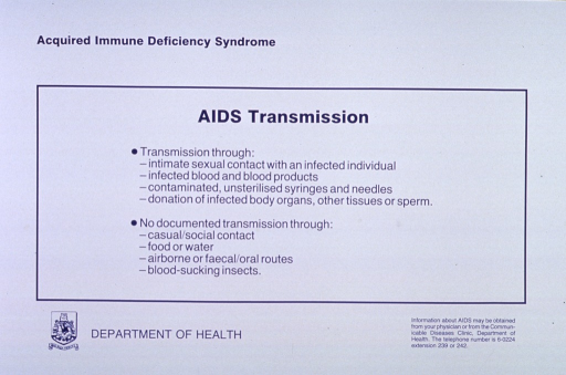 <p>White poster with blue lettering.  Title at top of poster.  Additional text below title explains AIDS transmission.  Publisher logo in lower left corner is sole visual image.  Publisher information at bottom of poster.</p>