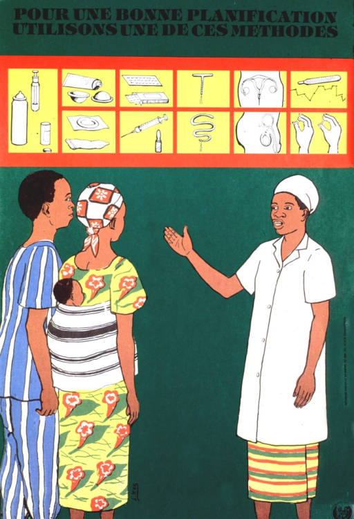 <p>Green poster with black lettering.  Title at top of poster.  Ten illustrations of contraceptive agents, devices, and methods, for both men and women, below title.  Dominant image is an illustration of a health worker speaking to a man and woman.  The woman carries a baby on her back.  Publisher logo in lower right corner.</p>