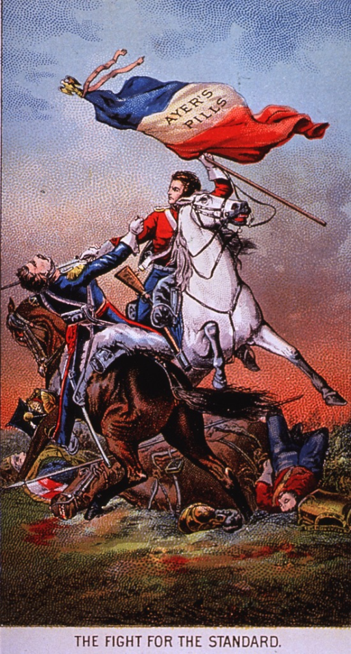 <p>A cathartic medicine good for many ailments.  Visual motif:  A military scene involving two horsemen and the struggle for the flag.</p>