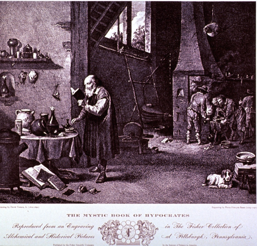 <p>An old man reads from a small book while working at a table in his workshop; several men work at a furnace in the background; a dog is curled up on the floor, and various types of glassware are on the table and two shelves; small furnace in foreground.</p>