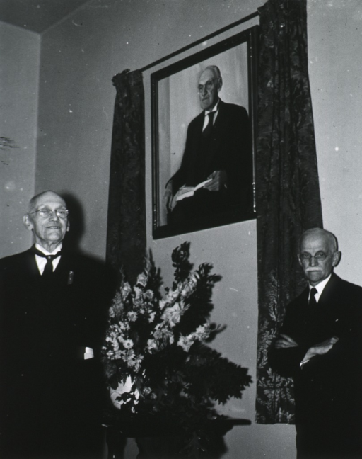 <p>Standing, full face; at unveiling of portrait at Wills Hospital; with Dr. Zentmayer.</p>