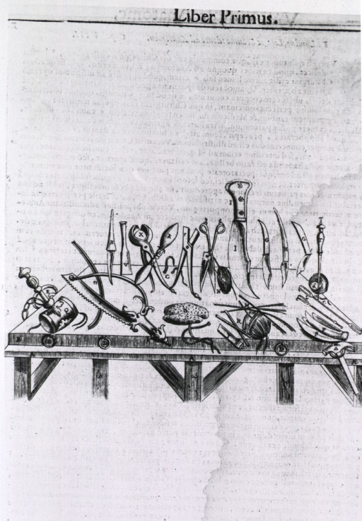 <p>Illustration of surgical and anatomical instruments on dissection (?) table.</p>