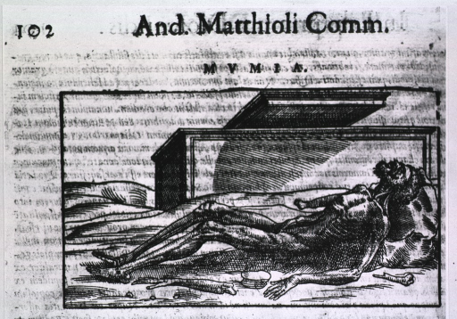 <p>A human body, in mummified state, is lying on the ground; in the background is an open sarcophgus.</p>