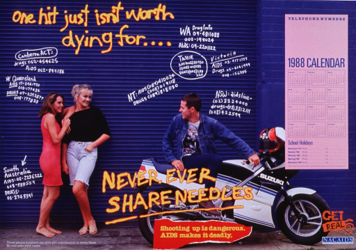 <p>Blue poster with multicolor lettering.  Initial title words in upper left corner of poster.  Dominant visual image is a reproduction of a color photo showing people in front of a building.  Two girls stand together on the left and a boy sits on a motorcycle on the right.  Hotline numbers for both AIDS and drug information are superimposed on the building, as if graffiti.  Remaining title words and caption at bottom of poster.  A calendar and logos for Get Real and the National Advisory Committee on AIDS are featured on the far right side of the poster.</p>