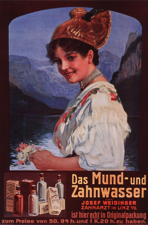 <p>White poster with multicolor lettering.  Poster is a reproduction of an earlier German poster, as described in the caption.  Elements of visual image on German poster include a young woman in traditional costume standing in front of an Alpine lake and several bottles of the advertised product.  Title, near lower right corner, comes from German poster.  Title stresses that the product is genuine and in the original packaging.</p>