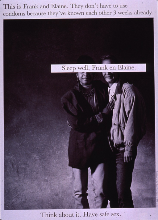 <p>Black and white poster with black lettering.  Title at top of poster.  Visual image is a b&amp;w photo reproduction featuring a male-female couple standing with their arms around each other.  Caption superimposed on the couple's faces obscuring their eyes.  Note at bottom of poster.  Publisher information on lower right edge.</p>