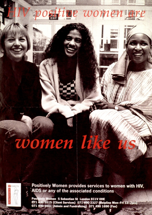 <p>Predominantly black and white poster with red and white lettering.  Entire poster is a reproduction of a b&amp;w photo of three women seated in front of a window.  Initial title words superimposed on photo near top of poster, remaining title words near center of poster.  Note and publisher information near bottom of poster.</p>