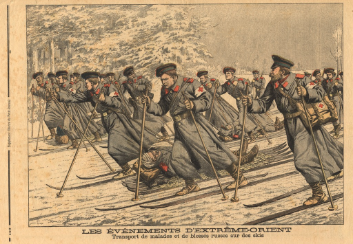 <p>Men on skis course across a snowy landscape.  The men are attired in the same coats and hats.  The Red Cross logo appears on each of their arm bands.  Wounded soldiers lie on their backs on litters that are attached to a set of skis.  The men on skis attach ropes to the litters and drag along the wounded.</p>