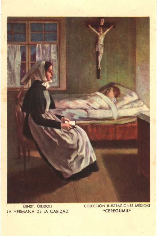 <p>Postcard featuring a color illustration of a female nurse sitting in a chair next to bed and holding a book in her lap. On the bed is a sleeping boy. Above the boy's head Jesus on the cross is hanging on the wall. To the left there is a window with white curtains.</p>