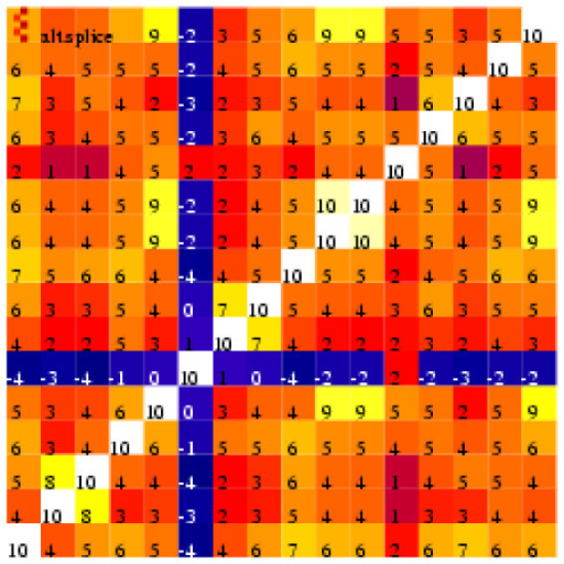 Heat map illustrating correlation coefficients between every pair of the 16 perfect match probes that form the 31846_at probe set.