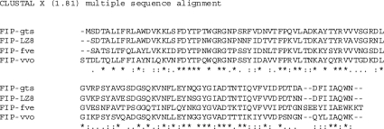 Sequence alignment of FIPs from various sources, demonstrating homology; see text