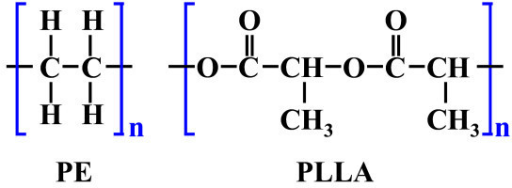 The chemical structure of PE and PLLA.
