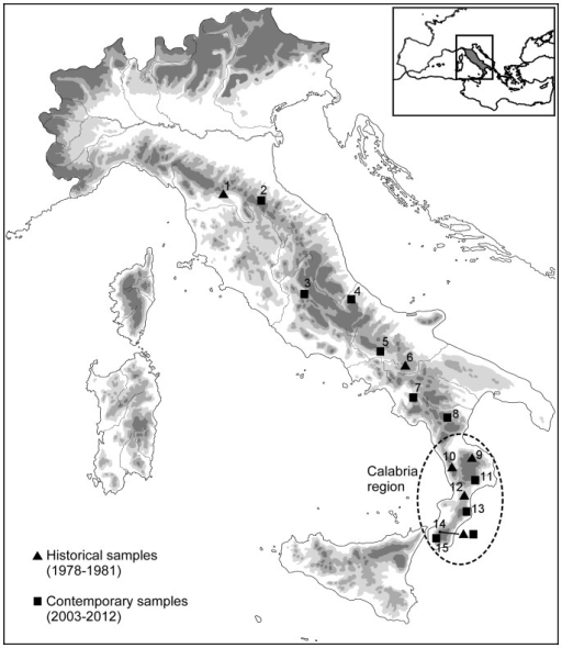 Geographic distribution of the 15 sampled populations of Bombina pachypus.The inset shows the species range along the Italian peninsula.