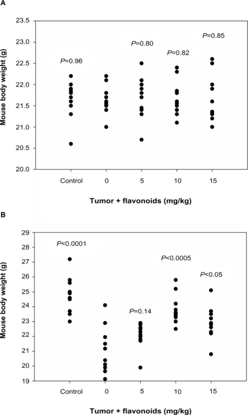 Effects of flavonoids from Radix Tetrastigmae on mouse body weight.Notes: The body weights of mice were determined before Lewis lung carcinoma tumor inoculation and flavonoid administration (A) and at day 14 after tumor inoculation and treatment (B). All P-values were calculated from comparison between the tumor inoculation group without flavonoid administration and other groups.