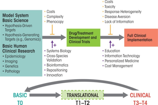 Translational research pipeline. Diagram portraying the information and discovery flow from basic research (left) via translational research (middle) to final clinical application (right). Vertical lines and arrows indicate negative (upper) and supportive (lower) factors modulating the translational pipeline. This process can be thought of as occurring in five stages, from basic research (T0) and translational research (T1 and T2) to clinical research (T3 and T4).