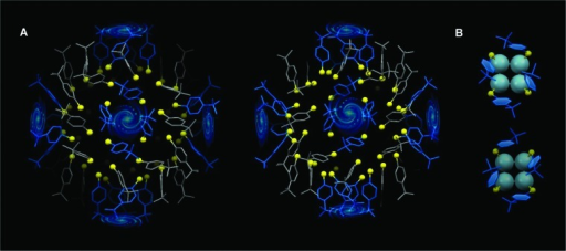 Chiral self-assembly of the carbon tails of the SPh-p-But ligands.(A) The rotative arrangement of phenyl rings results in the formation of fourfold swirls. (B) Carbon-tail swirls on the square unit; top: left-handed isomer; bottom: right-handed isomer. Yellow: sulfur.