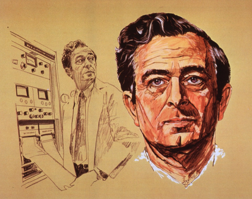 <p>Composite of drawings:  Half-length, turned to right; wearing lab coat; standing beside computer; and head, full face.</p>