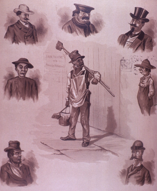 <p>Drawings of shoulder poses representing people from a variety of ethnic groups.  On the verso are advertisements for Fashionable Hatters, the tailor H.H. Gordon, the Waukenphast shoe vendor Cantrell, and E.M. &amp; W. Ward hosiers, glovers, and shirt makers.</p>