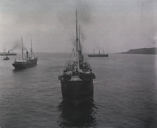 <p>View of an United States transport carrying soldiers to Sanitago.  Three other ships and a tugboat are in the background.</p>