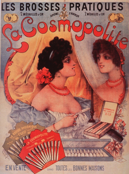 <p>White poster with multicolor lettering.  Poster is a reproduction of an earlier French poster, as described in caption.  Text at top of French poster refers to the product advertised as &quot;the practical brushes&quot; and mentions two gold medals and a &quot;diploma of honor&quot;.  Title taken from French poster, with initial phrase near top and remaining title words near bottom.  Title indicates that the toothbrushes are on sale in all of the best stores.  Elements of visual image on French poster include an illustration of a beautiful woman holding a toothbrush and looking at herself in a mirror, plus several boxes of toothbrushes.  Caption at very bottom of poster.</p>