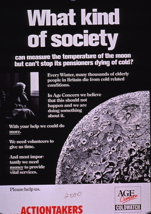 <p>Predominantly black poster with multicolor lettering.  Title at top of poster.  Visual images are a b&amp;w photo reproduction featuring an older woman wrapped in blankets and an illustration of the Moon.  Additional text on poster appeals for support and funds.  Publisher information in lower right corner.</p>