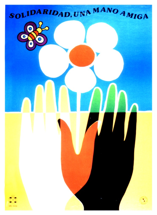 <p>Both a black and a white hand are coming up from the bottom of the poster.  Where the thumbs intersect, the hands are red, and where the fingertips cross a line, they are green.  The thumbs form a leaf shape, from which a five-petaled pink flower grows.  A butterfly hovers to the left of the flower.</p>