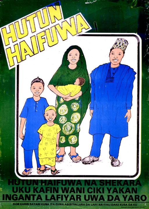 <p>Predominantly green poster with yellow and black lettering.  Title in upper left corner.  Title addresses concepts of rest and birth.  Visual image is a color illustration of a five-member family.  The children clearly differ in age.  Caption below illustration appears to suggest that spacing births leads to better health for mother and child.</p>